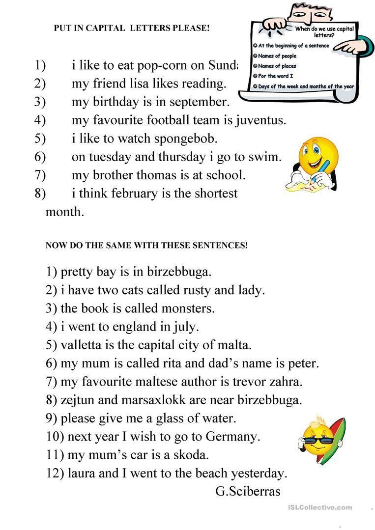 18 Capital Letters Worksheet   Capital letters worksheet [ 1079 x 763 Pixel ]
