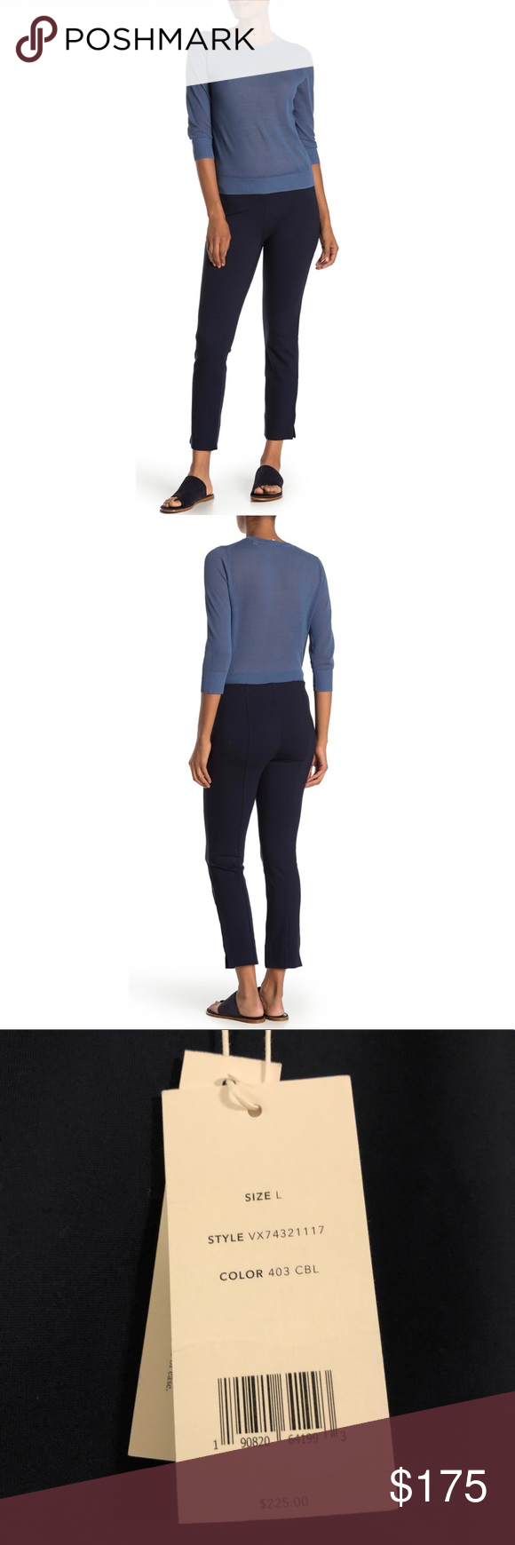 VINCE SOLID PULL-ON SLIM FIT PANTS SIZE L NAVY WOMEN'S VINCE PANTS TROUSERS PULL-ON SLIMMING SIZE L BLUE  Solid, slim fit trousers with an easy, pull on design add effortless comfort and flattering style.  MSRP $ 225.00  Fits true to size.  Features: - Pull on style - Elasticized waist  - Slim fit - Solid color - Stretch knit construction  - vented hems   📦  #001  Vince pants leggings size L Blue Navy Vince Pants