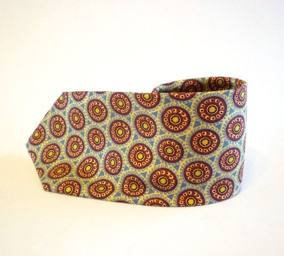 Vintage Silk Necktie, Blue and Burgundy Print Necktie, Wheel Motif Necktie