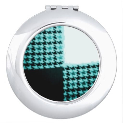Turquoise+and+Black+Houndstooth+Print+Compact+Compact+Mirror