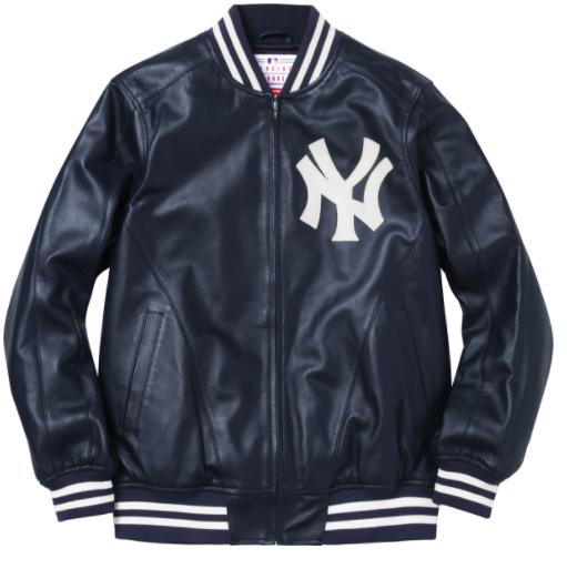 Supreme exclusive NYY Varsity leather jacket. Leather