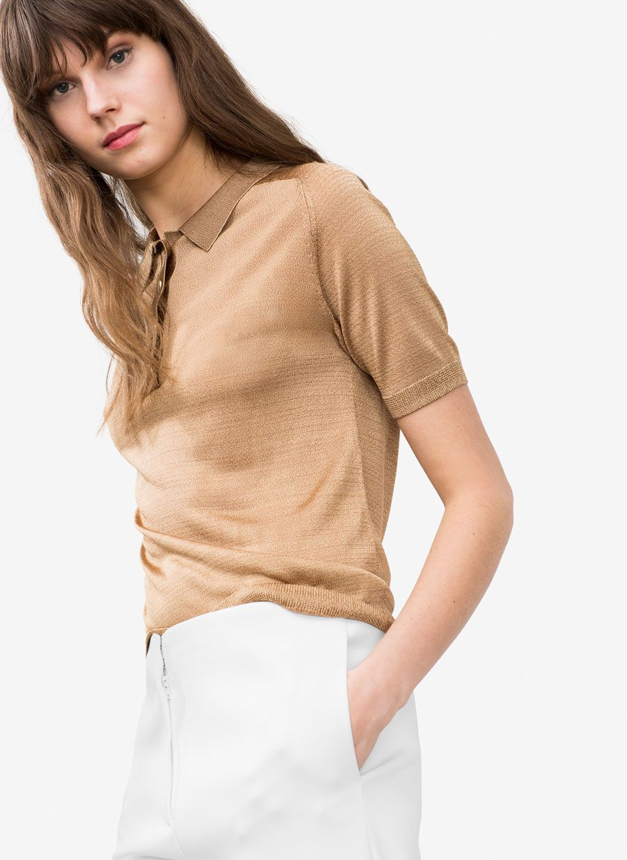 Metallic polo shirt - New in - Uterqüe United Kingdom