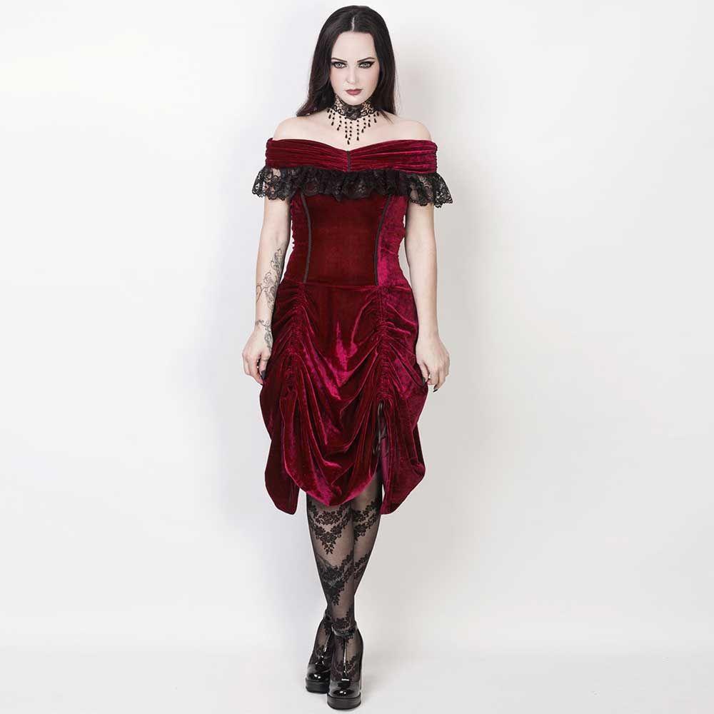 Vg london burlesque fluwelen gedrapeerde off shoulder jurk met kant