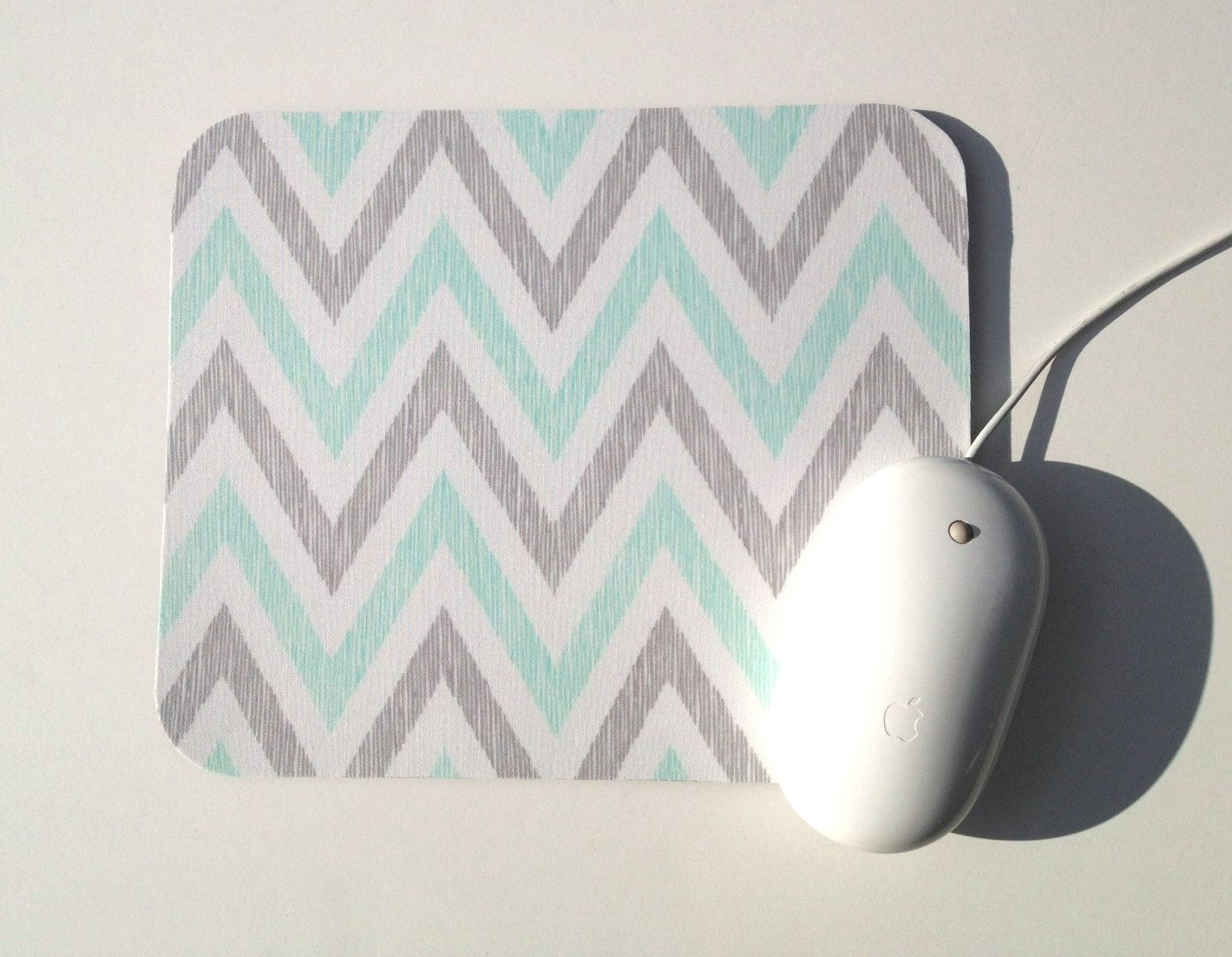 Amazing Mouse Pad / Chevron Aqua, Gray, And White / Home Office Decor / Simpatico