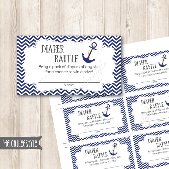Printable Nautical Diaper Raffle Tickets Navy Blue Anchor Baby