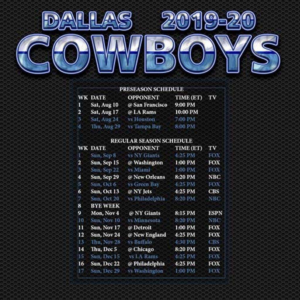 Dallas Cowboys Schedule 2020 2020 Printable In 2020 Dallas Cowboys Schedule Cowboys Schedule Dallas Cowboys