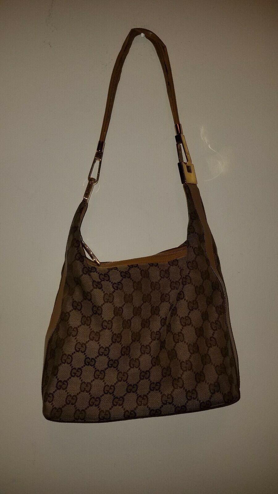 a8788f3e6a9c #FORSALE Authentic Vintage GUCCI Web Satchel Purse Handbag GG Canvas &  Leather Tan - $41