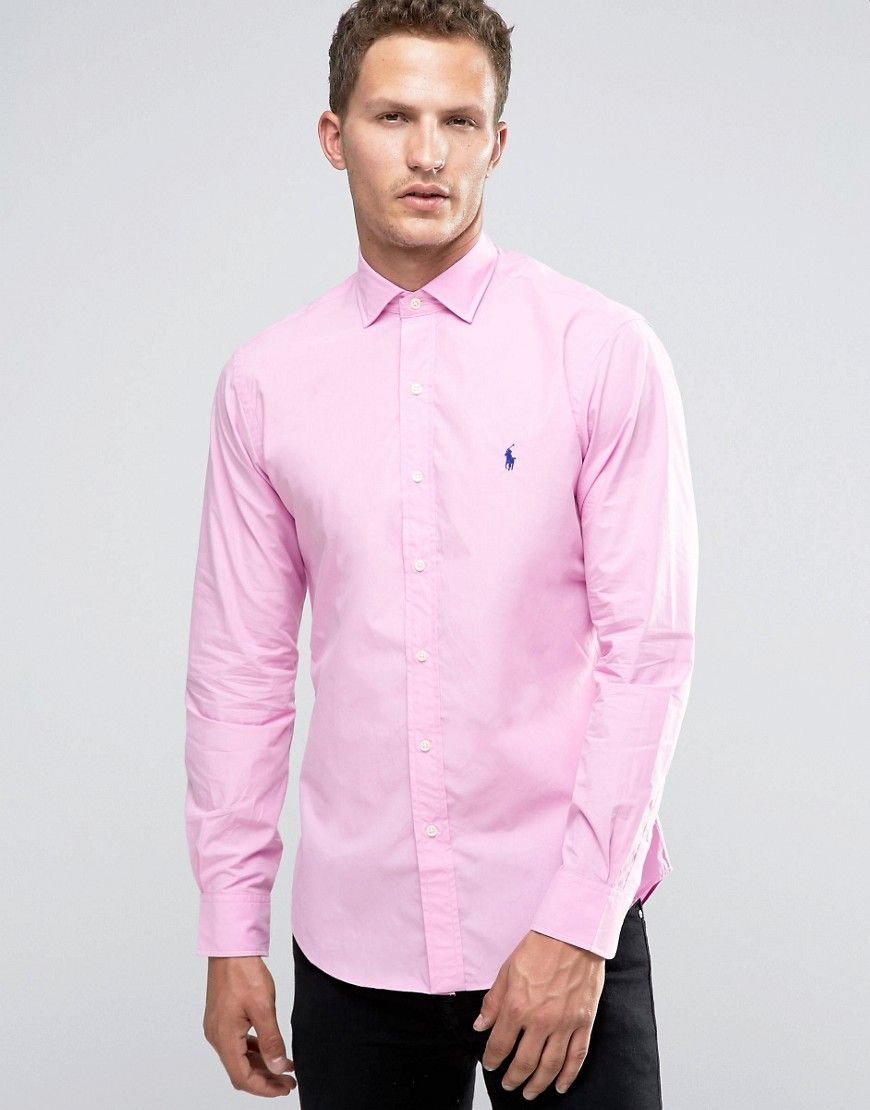 9167f04dc47 Image 1 of Polo Ralph Lauren Poplin Slim Fit Shirt in Pink