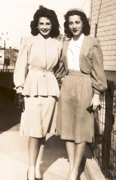 1940s Fashion And Style Trends In 40 Stunning Pictures: Two Beautiful 1940's Women. I Believe This Is In Brooklyn