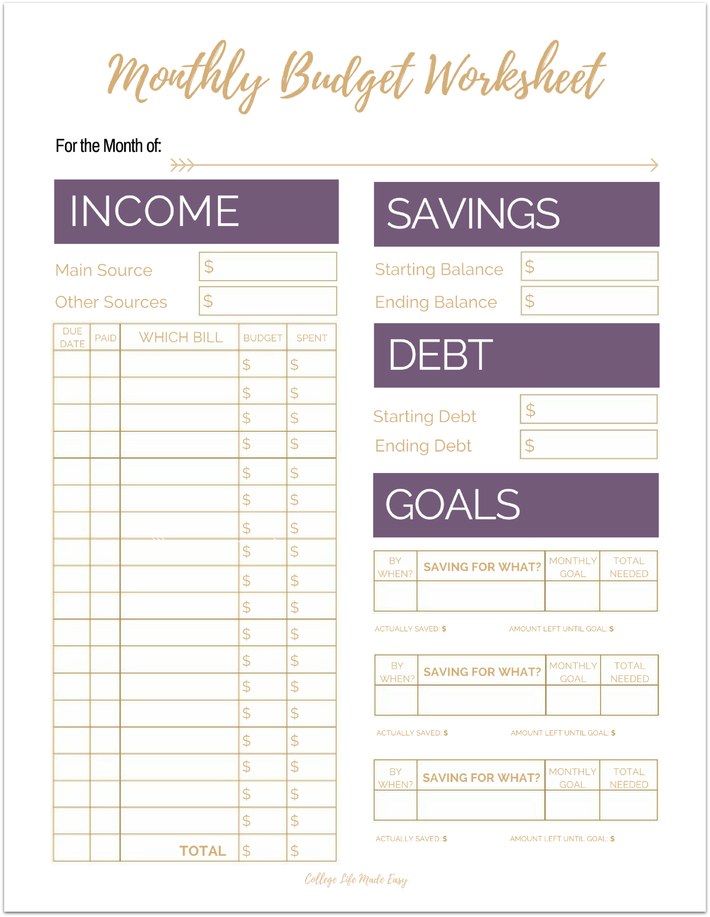 Cute Free Printable Budget Worksheet Templates For