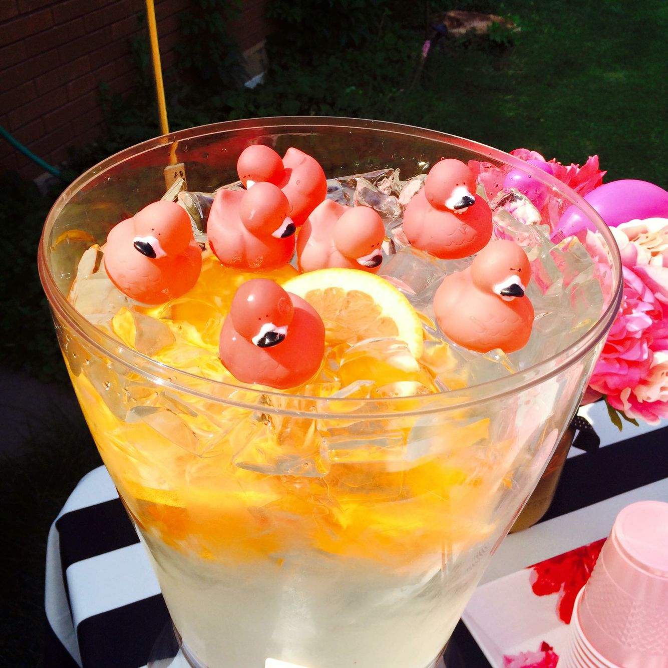 """It's all about attention to detail. I found these babies at A store called """"The Old Flamingo"""" Don't they look cute in our water dispenser ? Flamingo Party Flamingo Ducky Little Girl Partyv"""