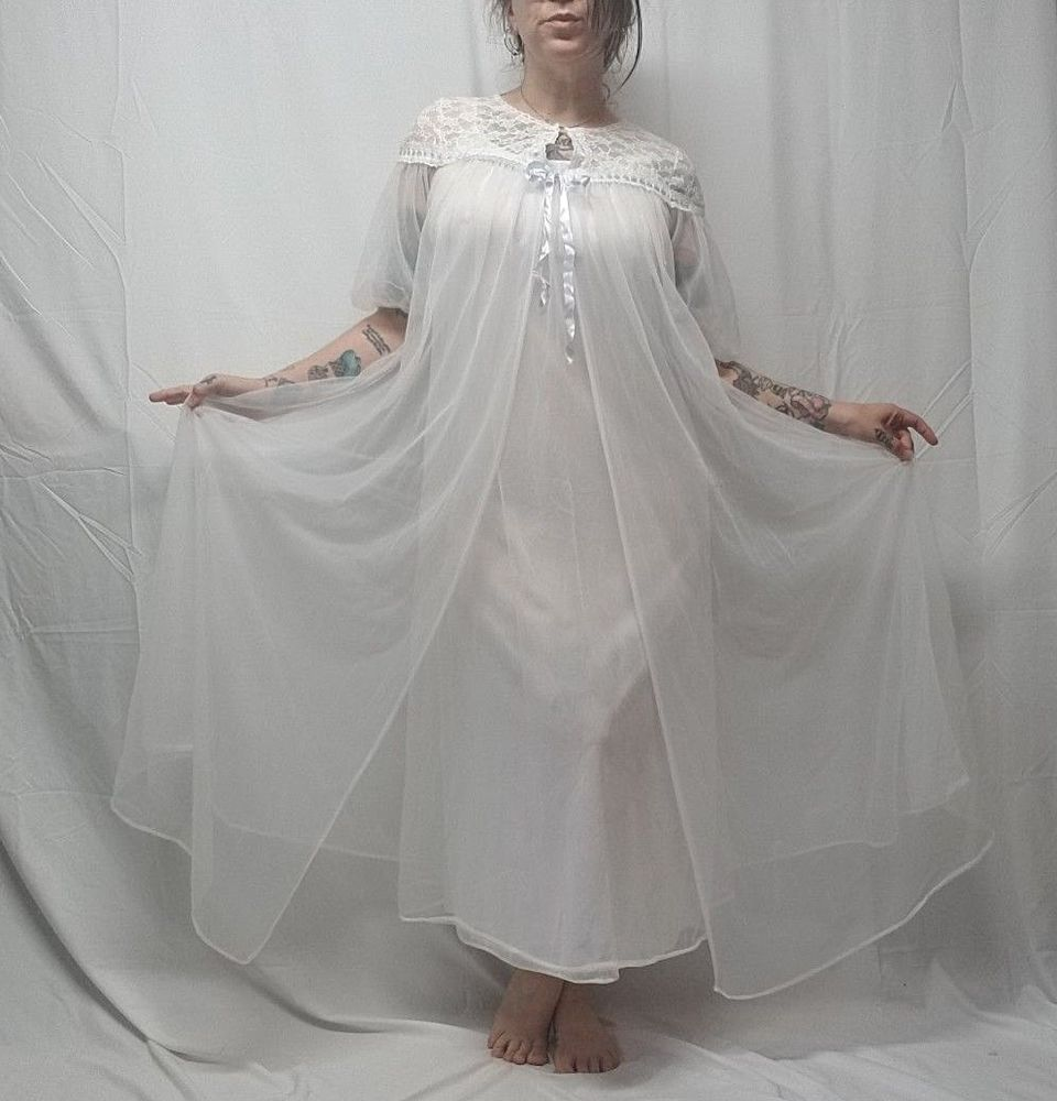 60s lace wedding dress  Vtg s Sheer White Chiffon Lace Bridal Negligee Peignoir Robe Set