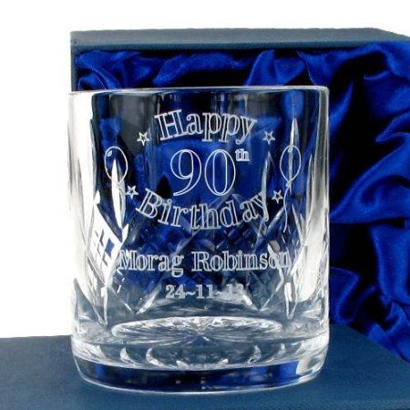 Special 90th Birthday Crystal Whisky Glass Personalised Gift For Her Amazoncouk Kitchen Home