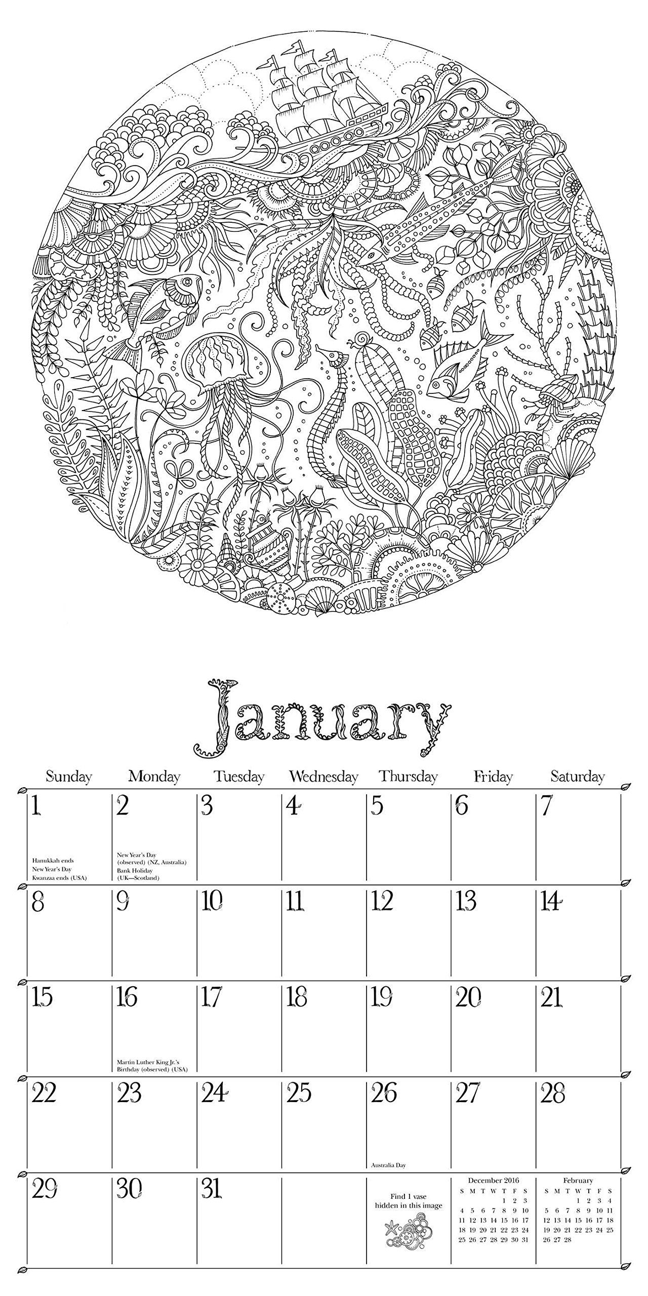 Lost Ocean 2017 Wall Calendar: An Inky Adventure and 2017 Coloring ...