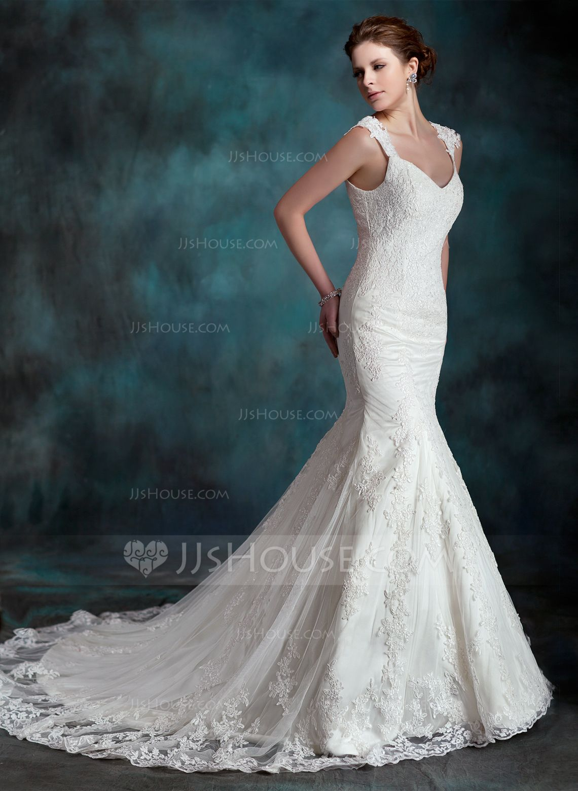Wedding dress without train  TrumpetMermaid Sweetheart Chapel Train Tulle Lace Wedding Dress