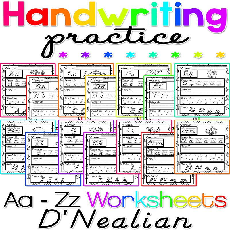 Worksheets For D 39 Nealian Handwriting Practice