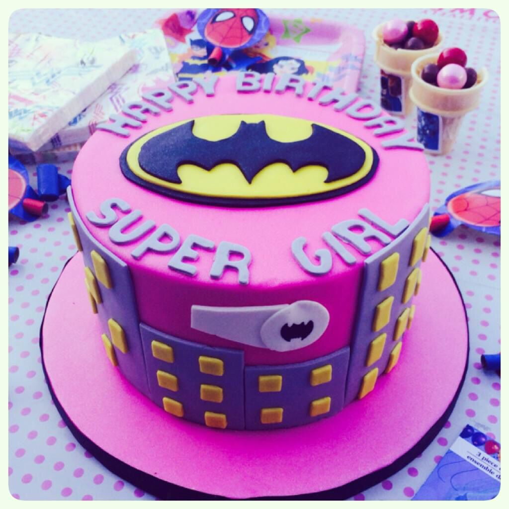 Fantastic Batgirl Supergirl Cake With Images Superhero Birthday Cake Funny Birthday Cards Online Aeocydamsfinfo
