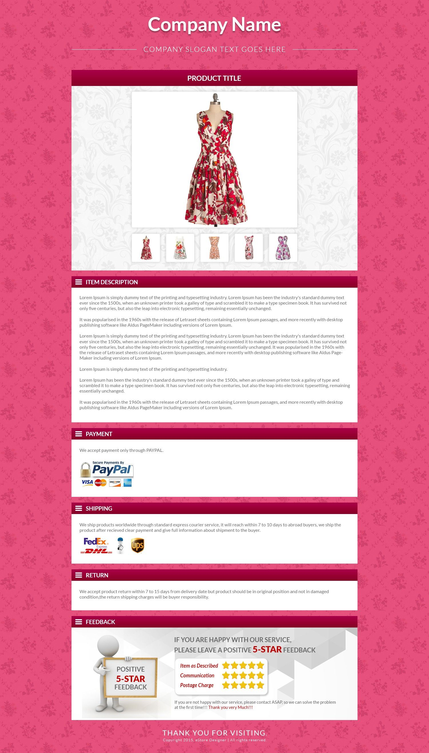 Pink Theme Ebay Description Html Template To Sell Branded Apparels Fashion Products Ebay Listing Pink Themes Template Design