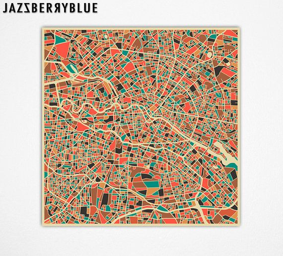 Berlin Street Map Fine Art Print By Jazzberry Blue