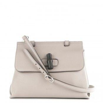 GUCCI Pebbled Calfskin Small Bamboo Daily Top Handle Bag Light Grey ... 367aeaec68c58