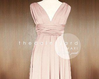 MAXI nackt Rosa Brautjungfer Cabrio Kleid Infinity Mehrwege Wrap Dress Kleid voller Länge Cocktailkleid Abendkleid Prom Hochzeitskleid