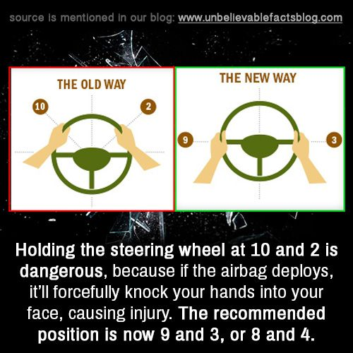 Holding the steering wheel at 10 and 2 is dangerous because if the holding the steering wheel at 10 and 2 is dangerous because if the airbag deploys itll forcefully knock your hands into your face causing injury fandeluxe Images