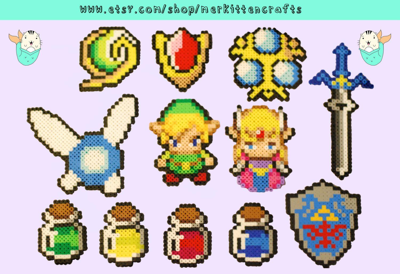 Zelda Sprites Perler Beads (Link - Potions - Hylian Shield - Master Sword - Kokiri's Emerald - Goron's Ruby - Zora's Sapphire)  by MerkittenCrafts