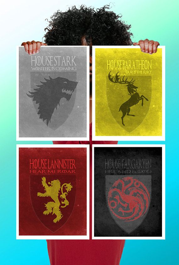 Game Of Thrones House Symbol Set Of 4 Stark Baratheon Lannister