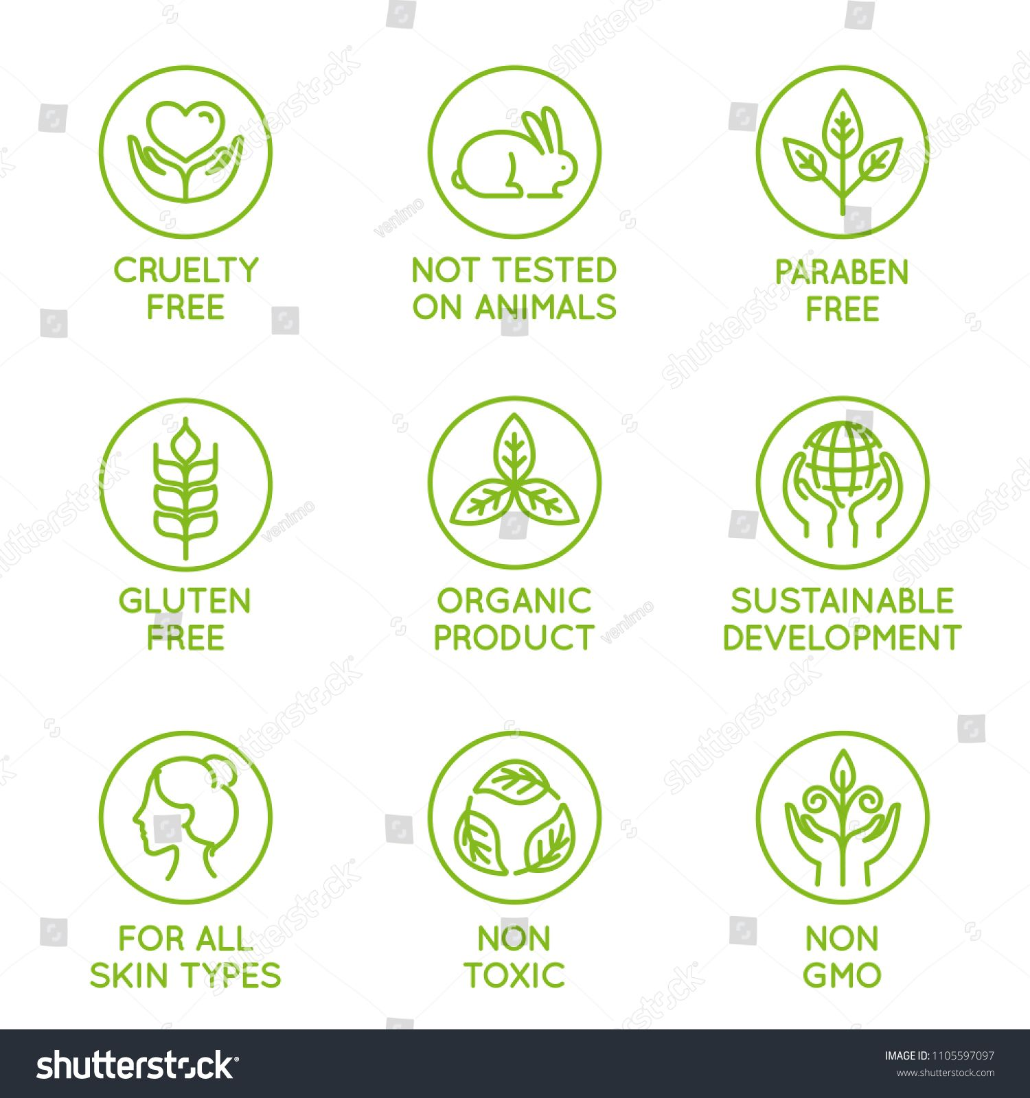 Vector Set Of Design Elements Logo Design Template Icons And Badges For Natural And Organic Cosmetic Paraben Free Products Logo Design Template Cosmetic Logo