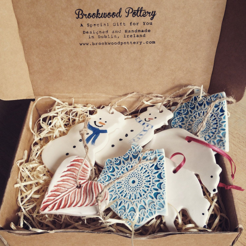 Box of Handmade Ceramic Christmas Decorations from Ireland
