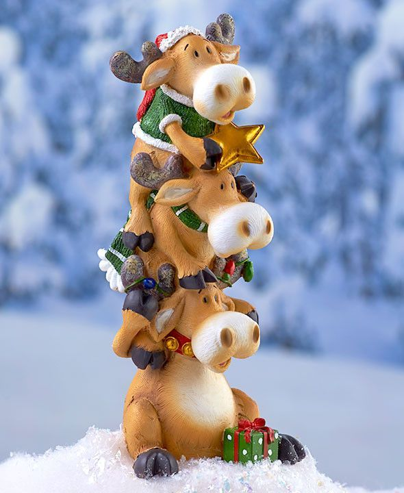 Christmas Winter Holiday Stacker Figurines Penguin Moose Snowmen