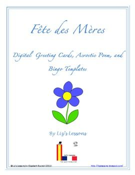 Free Celebrate Mother S Day In You French Cl Digital Greeting Cards Bingo Board And Acrostic Poem Templates