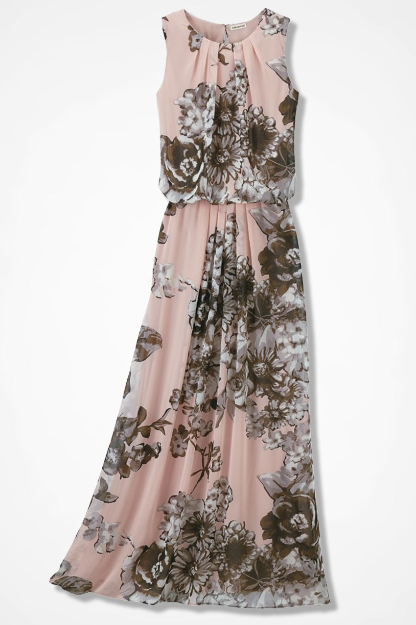 Blushing Blooms Maxi Dress Coldwater Creek Dresses Summer Dresses For Women Maxi Dress Party [ 1275 x 850 Pixel ]