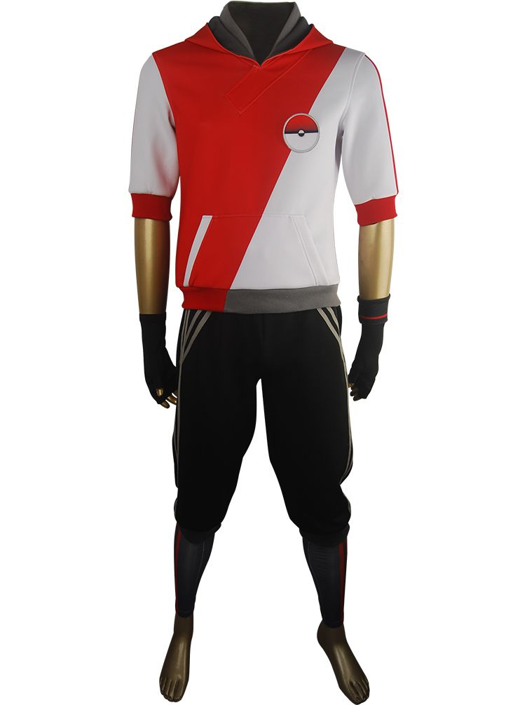 Game Pokemon Go Trainer Figure Red Jacket Hoodie Outfit Team Valor Mystic  Instinct Cosplay Costume
