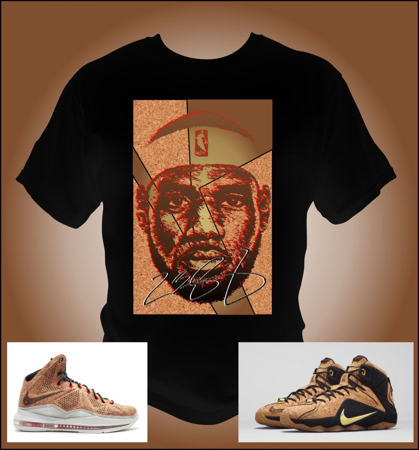 Lebron James 12 X Cork Black T-Shirt Made to match Lebron Cork Shoes by