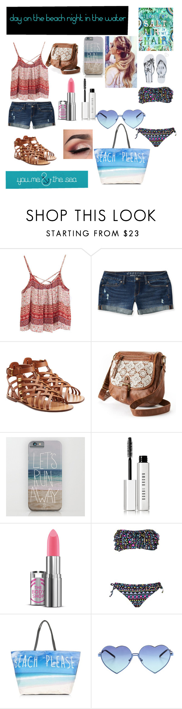 """""""day on the beach night on the water"""" by grunge-girl-on-fleek ❤ liked on Polyvore featuring Aéropostale, Valentino, Mudd, Bobbi Brown Cosmetics, Boohoo and Wildfox"""