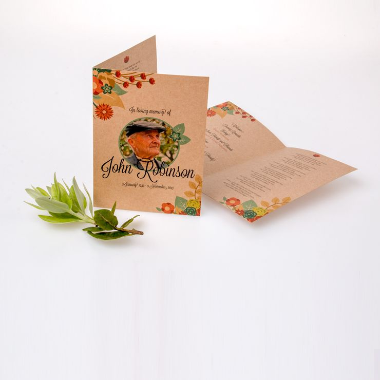 Paper Card Or Textured Stock Also Know As A Funeral Program