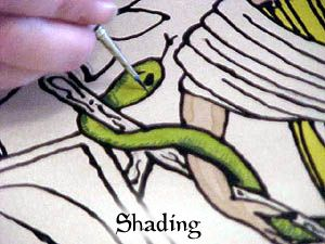 Techniques in silk painting, including shading and