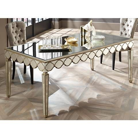 Stasia Gold And Beveled Mirror Dining Table Mirrored Glass