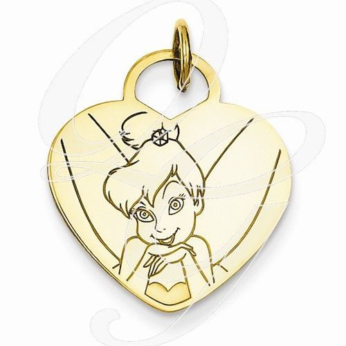 Gold-Plated SS Disney Tinker Bell Heart Charm