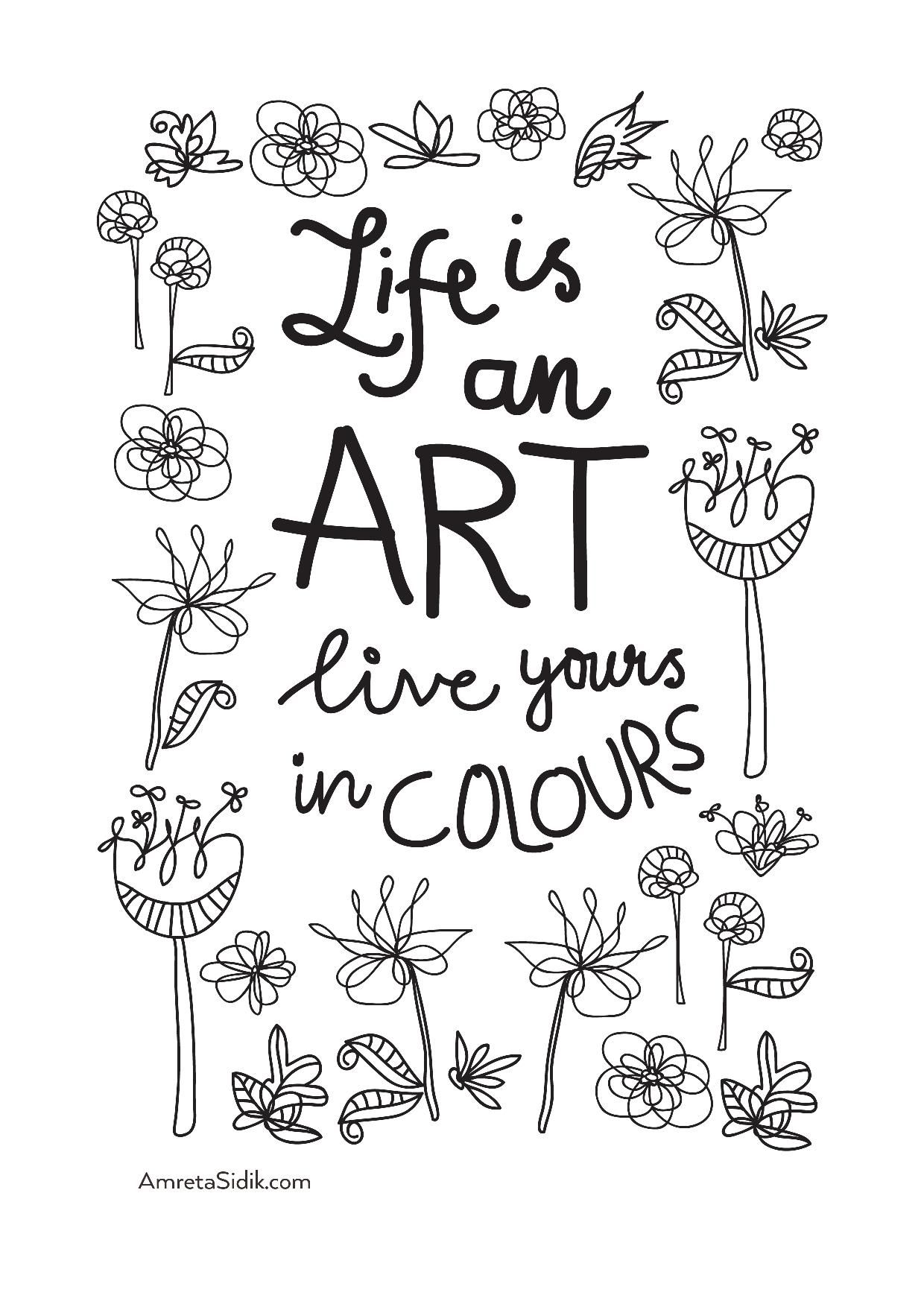 Stress reducing adult coloring pages free - Coloring Adult Life Is Art From The Gallery Zen