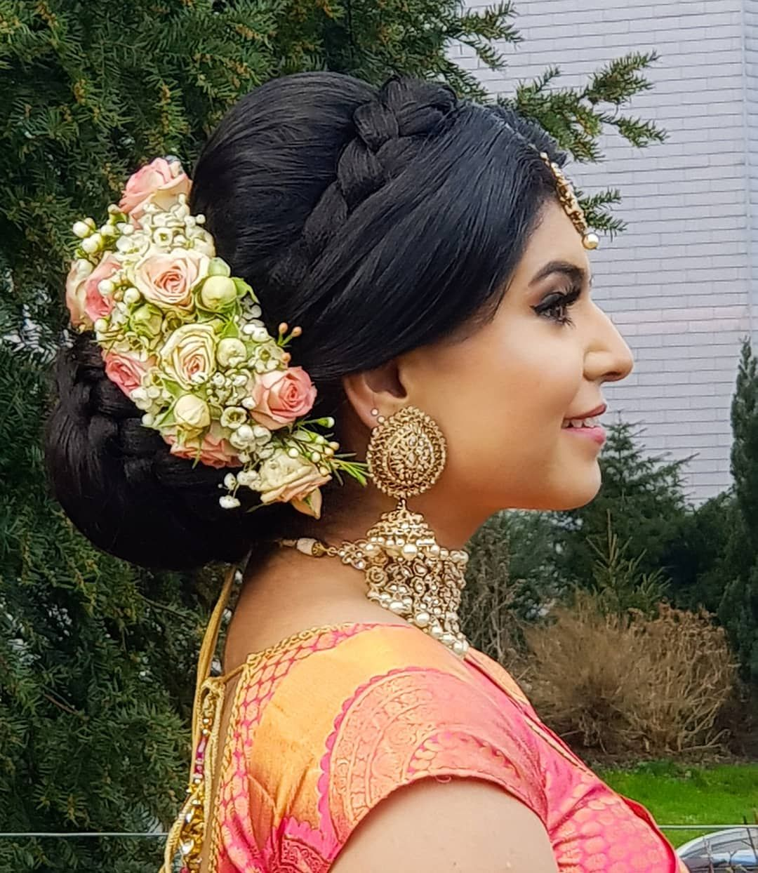 My First Mangalyasilk Bride Gathyrina Wearing My Silk Saree Collection Whole Stylin Bridal Hair Buns Big Bun Hair Wedding Hairstyles
