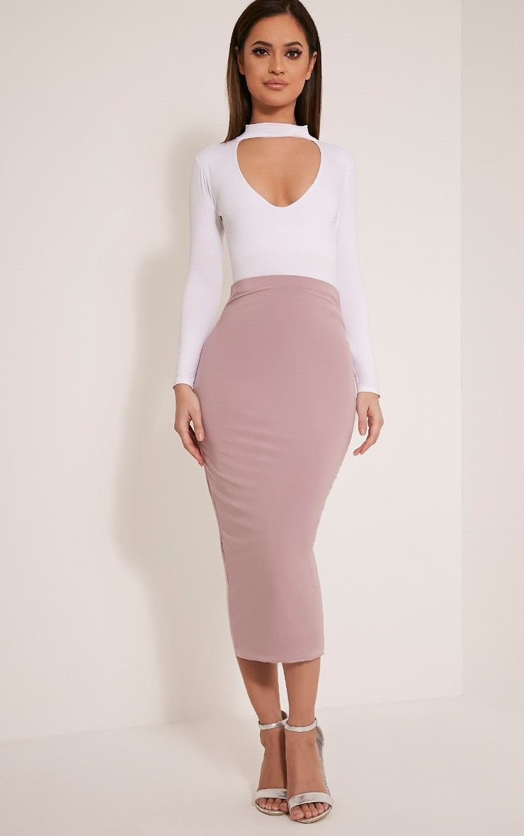 Steffany Mauve Slinky Long Line Midi Skirt | Loving the Clothes ...