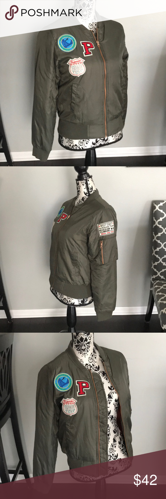 7761976f7a99 Sz. Iris Los Angeles bomber jacket. Military green Zip closure Font pockets  Arm zip pocket Iris Los Angeles Jackets   Coats Utility Jackets