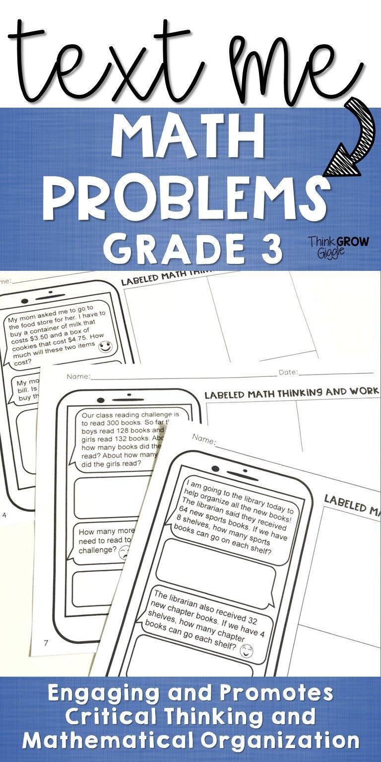 Text Message Word Problem Worksheets | Math word problems, Math ...