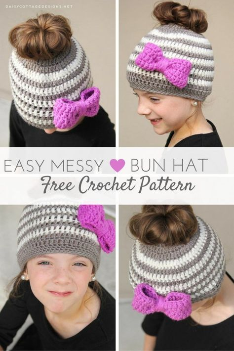 Kids Messy Bun Hat Crochet Pattern | Cottage design, Hat crochet and ...