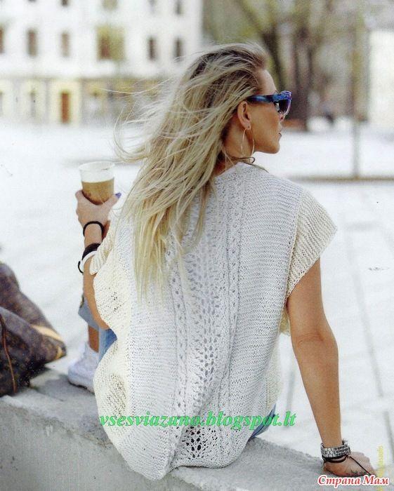 летний пуловер из хлопка со спущенным плечом вязание головные