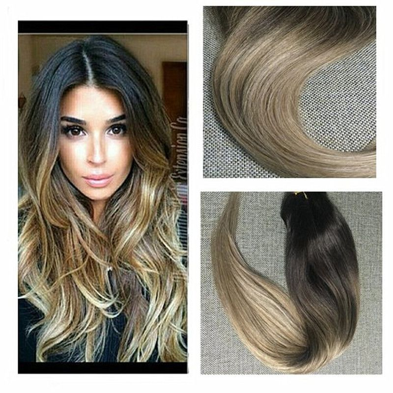 Hair Extensions Fashion Style Full Shine Remy Hair Extensions Clip In Blonde Ombre Balayage Hair Extensions Color 1b Fading To #613 Blonde Ombre Hair 120g Professional Design