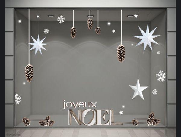 Image Vitrine Noel.Stickers Noel Pomme De Pin Avec Etoiles En Volume