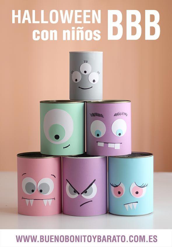 halloween para ni os latas monstruo para jugar tins jars pots pinterest basteln kinder. Black Bedroom Furniture Sets. Home Design Ideas